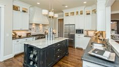 Like how the microwave is situated - Houzz - Home Design, Decorating and Remodeling Ideas and Inspiration, Kitchen and Bathroom Design Shabby Chic Lamps, Shabby Chic Kitchen, Shabby Chic Style, Linear Chandelier, Traditional Kitchen, Kitchen Design, House Design, Kitchen Counters, Carrara