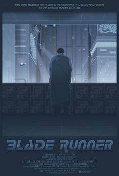 A blue color palette for Blade Runner. Even though Deckard faces away, we can imagine what he feels when he looks out into the city.
