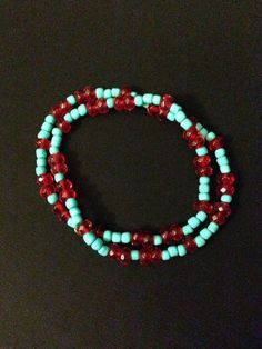 Turquoise and Red Double Bracelet by jsdd on Etsy