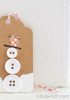 So cute button snowman gift tags. Metallic