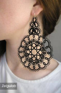 Black big lace Earrings Center of the universe tatted by Zelgulab