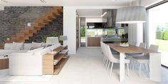 Find home projects from professionals for ideas & inspiration. Projekt domu HomeKONCEPT 37 by HomeKONCEPT Dining Room Design, Interior Design Living Room, Duplex House Plans, Minimalist Room, Dream Home Design, Diy Interior, Luxury Apartments, House Rooms, New Homes