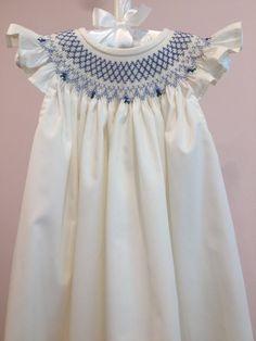 Ivory/Blue or Ivory/Pink Smocked Bishop Dress/Infant/Toddler/Girls Toddler Girl Dresses, Little Girl Dresses, Flower Girl Dresses, Toddler Girls, Infant Toddler, Dress Girl, I Dress, Baby Girls, Vichy Rose