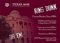 Aggie Ring Day Invitations