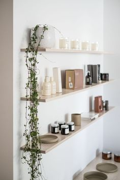 Assembly Label Fit Out. Not too crowded display shelves to let everything shine. Spa Room Decor, Beauty Room Decor, Massage Room Decor, Beauty Salon Interior, Salon Interior Design, Home Beauty Salon, Studio Interior, Beauty Bar, Beauty Treatment Room
