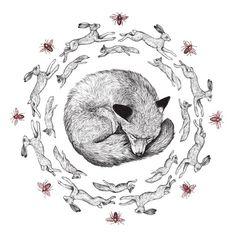 The Run Around ~ artist Amy Dover  #fox #art #illustration