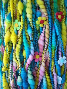 Easter Egg Handspun Yarn with Flowers