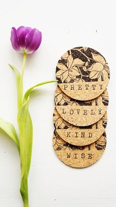 Collection of Compliments Coasters - Set of 4 - Cork Handstamped Hand Stamped Spring Floral Words of Affirmation Gifts for Her