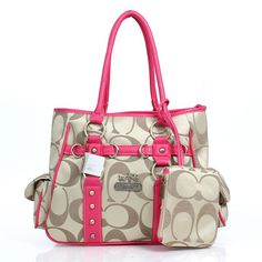 Cheap And Fashion Coach Stud In Signature Medium Pink Totes DZD Are Here!