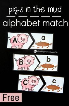 Have some fun in the mud with these cute pig matching alphabet cards! A fun preschool and kindergarten activity! Farm Activities, Alphabet Activities, Preschool Alphabet, Farm Animals Preschool, Preschool Farm Theme, Farm Theme Classroom, Farm Lessons, Preschool Curriculum, Preschool Kindergarten