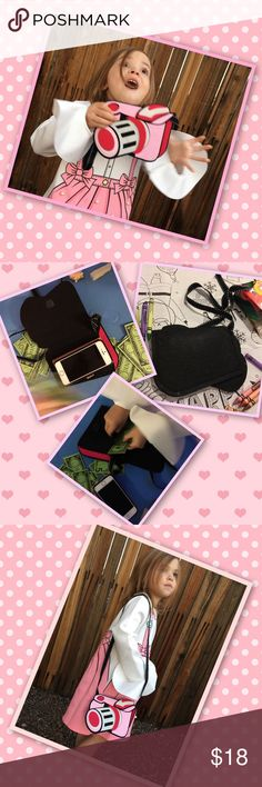 """Perfect Picture Purse Charming mini bag/wallet/coin purse. Long shoulder strap. Cute and lightweight  flat camera shape created of wool/felt. Pinks, black, white colors create a trendy fashion statement. Women, Tween, Teen, Child mini Type coin Purse that adds fun to any day! Approximately 6.6"""" X 5.3"""". Velcro closure with black insides and backside. (See images) Accessories Bags"""