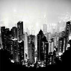Black and white B&W photography // karen cox. NYC New York City at Night