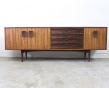 Mid Century sideboard in Zebrano wood - The Vintage Shop Mid Century Modern Sideboard, Retro Sideboard, Credenza, Auckland, Vintage Shops, Mid-century Modern, Cabinet, Storage, Wood