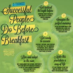 5 Things Successful People Do Before Breakfast, via the #PassionProject. Re-pin if you do some of the above!