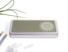 Mandala cute pencil case. Tin for school supplies. #housewares #office @EtsyMktgTool http://etsy.me/2ik6iga