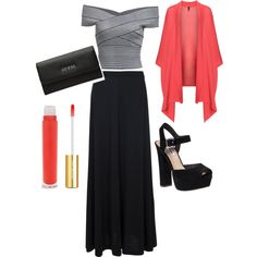 Outfit black and white guess long skirt shoes kimono cool