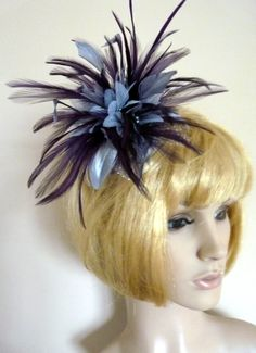 Silver and blackcurrant fascinator