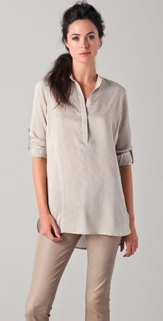 Vince Striped Tunic (with Vince Leather Leggings).