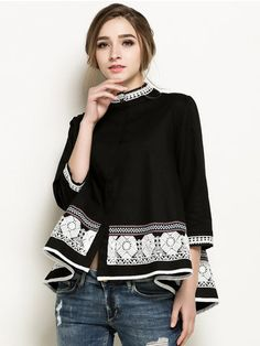 Casual Women Bead Embroidery Crochet Patchwork Shirt Blouse