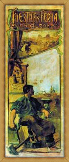 Cartel de fiestas de Alcoy del año 1904 Autor Rafael Peidro Peidro