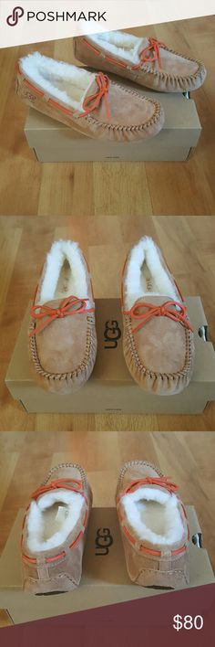 UGG Moccasins I am selling a pair of NEW UGG Moccasins. They are size 6 in women. This style is called Dakota. They are suede texture and water resistant.  Chestnut color. UGGpure wool lining and insole. Molded rubber sole allows for indoor/outdoor use. They have the hologram as shown in the picture to prove authenticity. Feel free to ask any questions! *** NO TRADES *** NO LOW BALLING PLEASE *** I'm open to reasonable offers! Thanks for viewing! UGG  Shoes