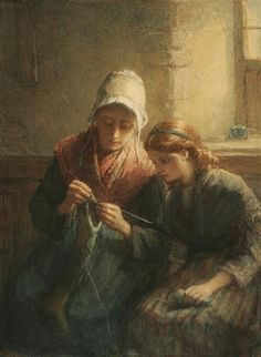 """Knitting Lesson"" Hugh Carter, English Painter and Draftsman, 1837 - 1903 Paintings I Love, Beautiful Paintings, Carl Spitzweg, Art Du Fil, Knit Art, Sewing Art, Vintage Knitting, Knitting Yarn, Knitting Projects"