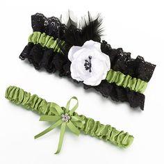 Lillian Rose LG752 Green & Black Garter Set