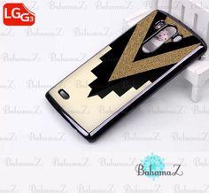 Gold Glitter x Black Chevron Cutout LG G3 Case Cover