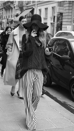striped pants.... chic outfit.