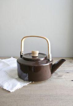 RESERVED / enamel tea kettle / chocolate brown