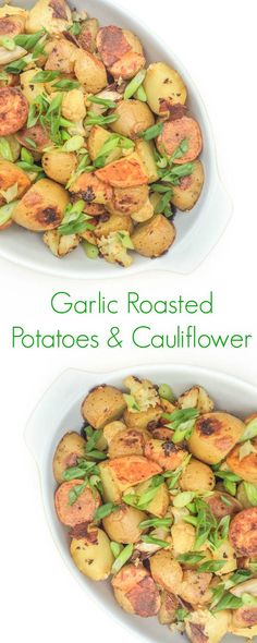 This simple 5-ingredient side dish of roasted potatoes and cauliflower is packed with nutrients and full of roasted garlic flavor.