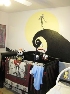 Nightmare before Christmas Nursery. OMG I wanted to do this with my daughter but her dad refused because he isn't a fan as much as I am but definitely might be a thought for my next child especially if I have a boy but it'll not only be NBC, but a lot of things relating to Tim Burton