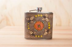 6oz Flask - Bee Line pattern in yellow, orange, coral, gold and antique black - bees and flower