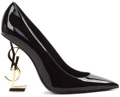 saint laurent opyum pump in patent leather with black