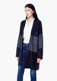 Flecked panels cardigan -  Women | MANGO
