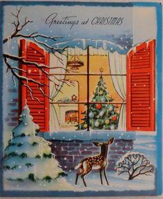 #329 50s Unused Deer Looks Into the Window-Vintage Christmas Greeting Card