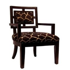 Cherry Frame Chair with Brown and Ivory Giraffe Fabric