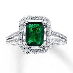 Natural Emerald Ring 1/2 ct tw Diamonds 14K White Gold @Four Seasons Bridal