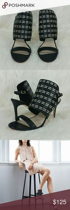 """COLE HAAN Arista weaved leather sandals SAVE $168 (60%)  Elegant, sophisticated and fashionable. A unique black and white upper panel with woven detailing and a slingback strap with an adjustable buckle.   100% oiled vachetta leather upper  Leather lining, leather insole and suede buffed outsole.  Heel measures approximately 3.75""""  Brand new. Never worn. Comes with box.   Make an offer! Cole Haan Shoes Heels"""