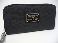 fd7146c371 Loungefly Hello Kitty Face embossed Zip Wallet Licensed Sanrio Black Brand  New