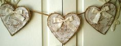 Country Chic Bunny Toile Fabric Heart Burlap Banner with Unbleached Muslin Petite Bows. $20.00, via Etsy.