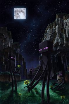 #Minecraft aww the endermen are picking flowers :) so cute haha
