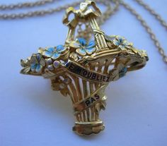 Antique 18K Gold and Enamel Forget Me Not Basket Pendant Brooch From France via Etsy