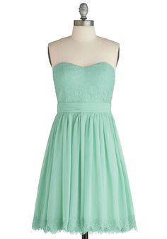 love the color and hemline lace details Chic My Name Dress in Seafoam, #ModCloth