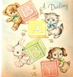 To welcome a darling new baby. #vintage #cute #cards