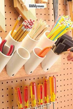 With a little creativity, many common household items can be transformed into something else that's entirely different and amazing. Check out 110 extraordinary ways to reuse old items. Garage Workshop Organization, Garage Tool Storage, Workshop Storage, Garage Tools, Craft Room Storage, Diy Storage, Diy Workshop, Recycling Storage, Boot Storage