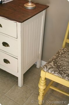 beadboard wallpaper on furniture