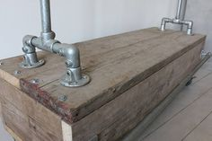 Pia Clothes Rail With Reclaimed Scaffold Wood Drawer