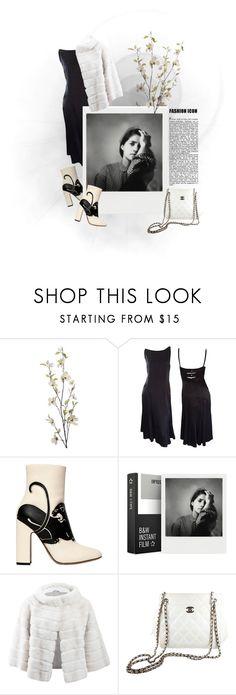 """""""Black & White"""" by justgirlythings ❤ liked on Polyvore featuring Pier 1 Imports, Karl Lagerfeld, Valentino, Impossible Project, Yves Salomon and Chanel"""