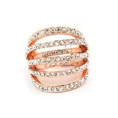 Rose gold Wedding Rings Set,Made with Alloy Rhinestone
